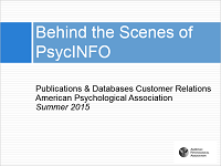 Screenshot of slides from Behind the Scenes of PsycINFO
