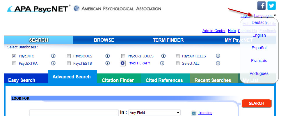 Screenshot of language translation options on APA PsycNET