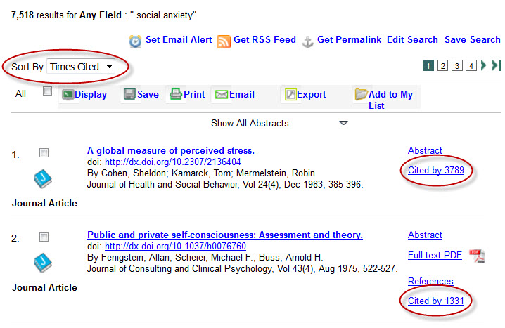 APA PsycNET search results sorted by Times Cited.