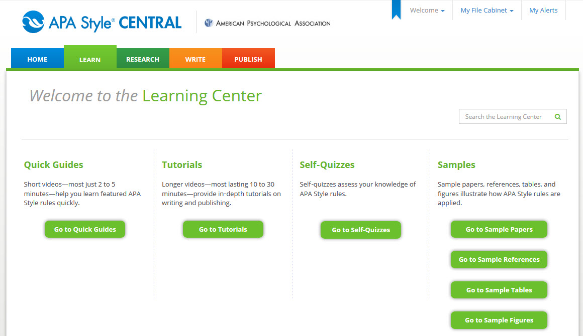 A screenshot of the Learning Center, a part of APA Style CENTRAL.