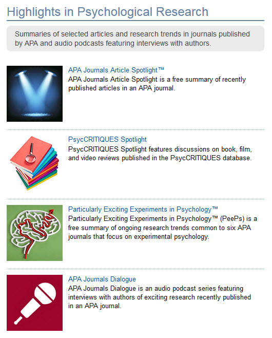 Screenshot of Highlights in Psychological Research webpage