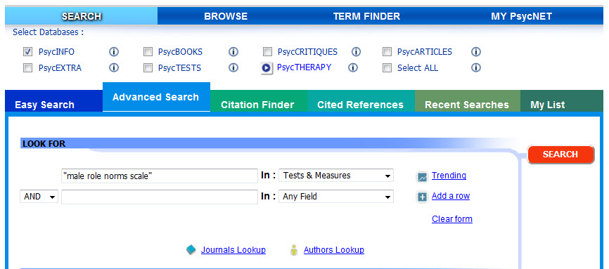 Searching the PsycINFO Tests & Measures field for the Male Role Norms Scale.