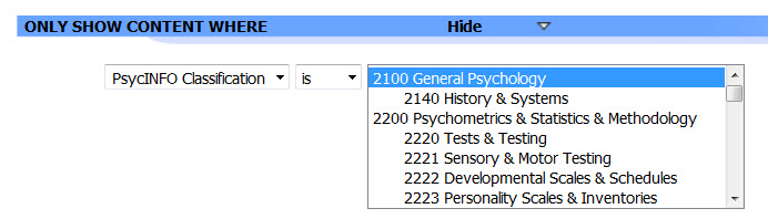 Screenshot of the Classification Codes limiter on APA PsycNET.