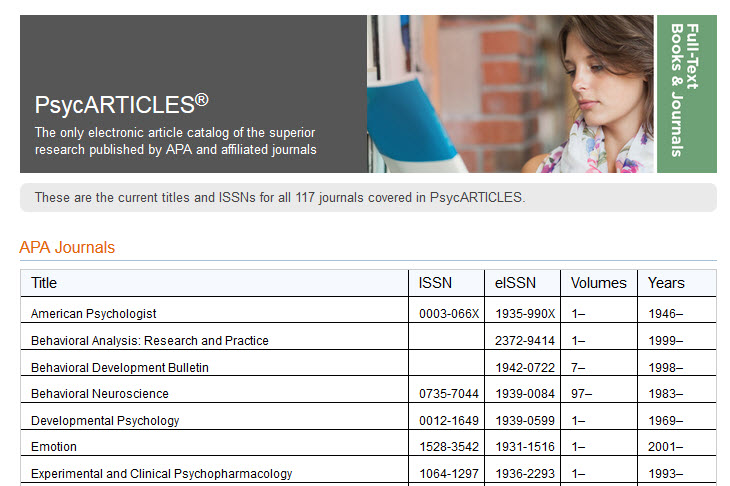 Screenshot of PsycARTICLES coverage list from the APA website.