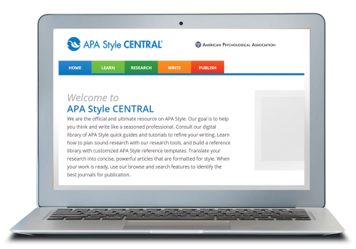 Laptop displaying APA Style CENTRAL homepage.