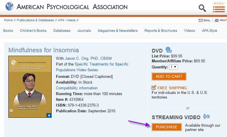Screenshot of the APA website page for the DVD Mindfulness for Insomnia, pointing out the button to purchase streaming video.