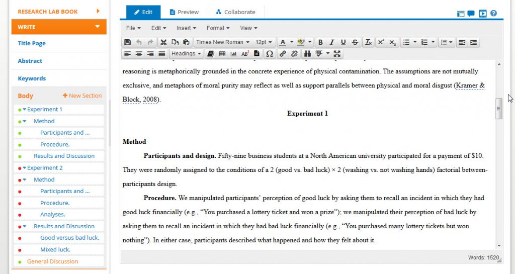 Screenshot of the APA Style CENTRAL Writing Center with a paper in progress