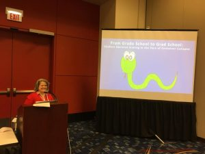 Photo of Rachael Elrod presenting her research at ALA