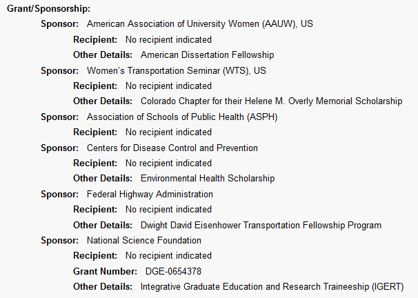 Screenshot of the Grant/Sponsorship field from a PsycINFO record on APA PsycNET.