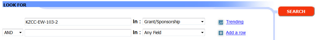 A screenshot of searching PsycINFO on APA PsycNET for the grant number KZCC-EW-103-2.