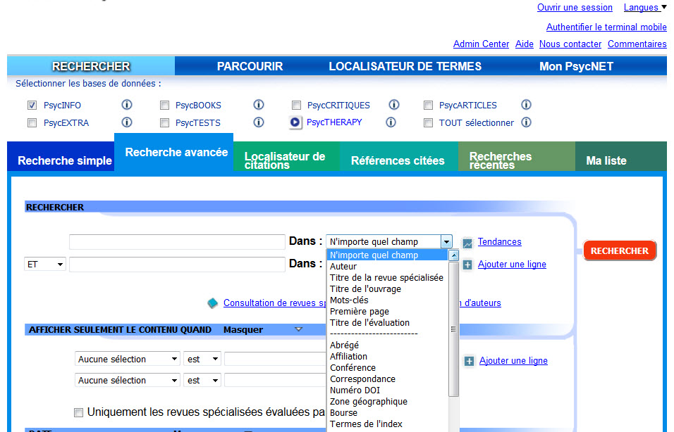 Screenshot of the APA PsycNET Advanced Search screen translated into French.