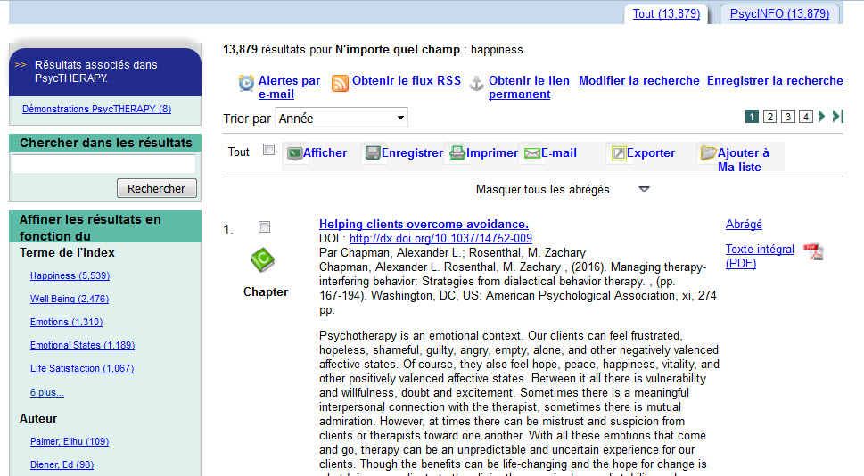 Screenshot of the APA PsycNET search results screen, showing navigational options and other labels in French.