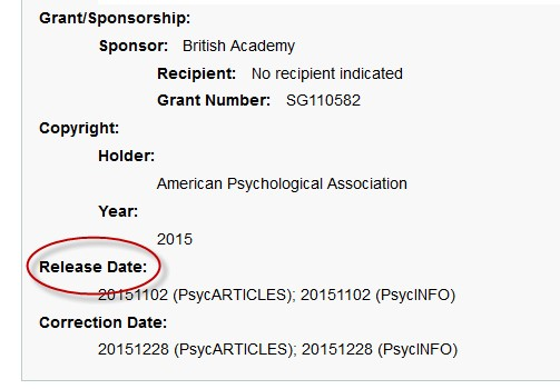 Screenshot of release date on a record on APA PsycNET