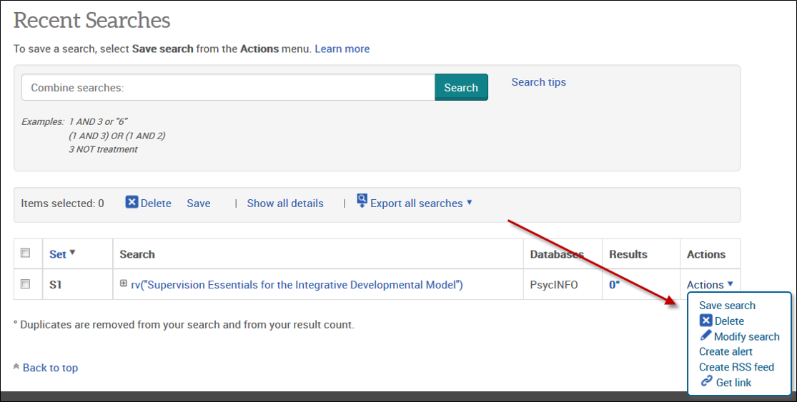 Setting up a search alert on ProQuest