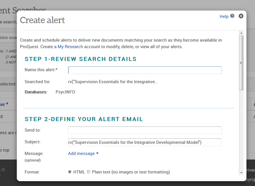 Setting up a search alert on ProQuest - adding your details