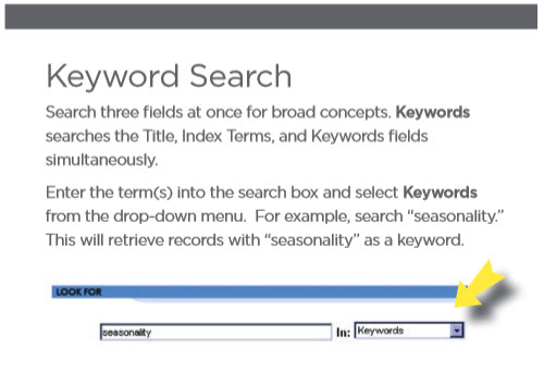 PsycINFO Quick Reference Guide - Keywords panel