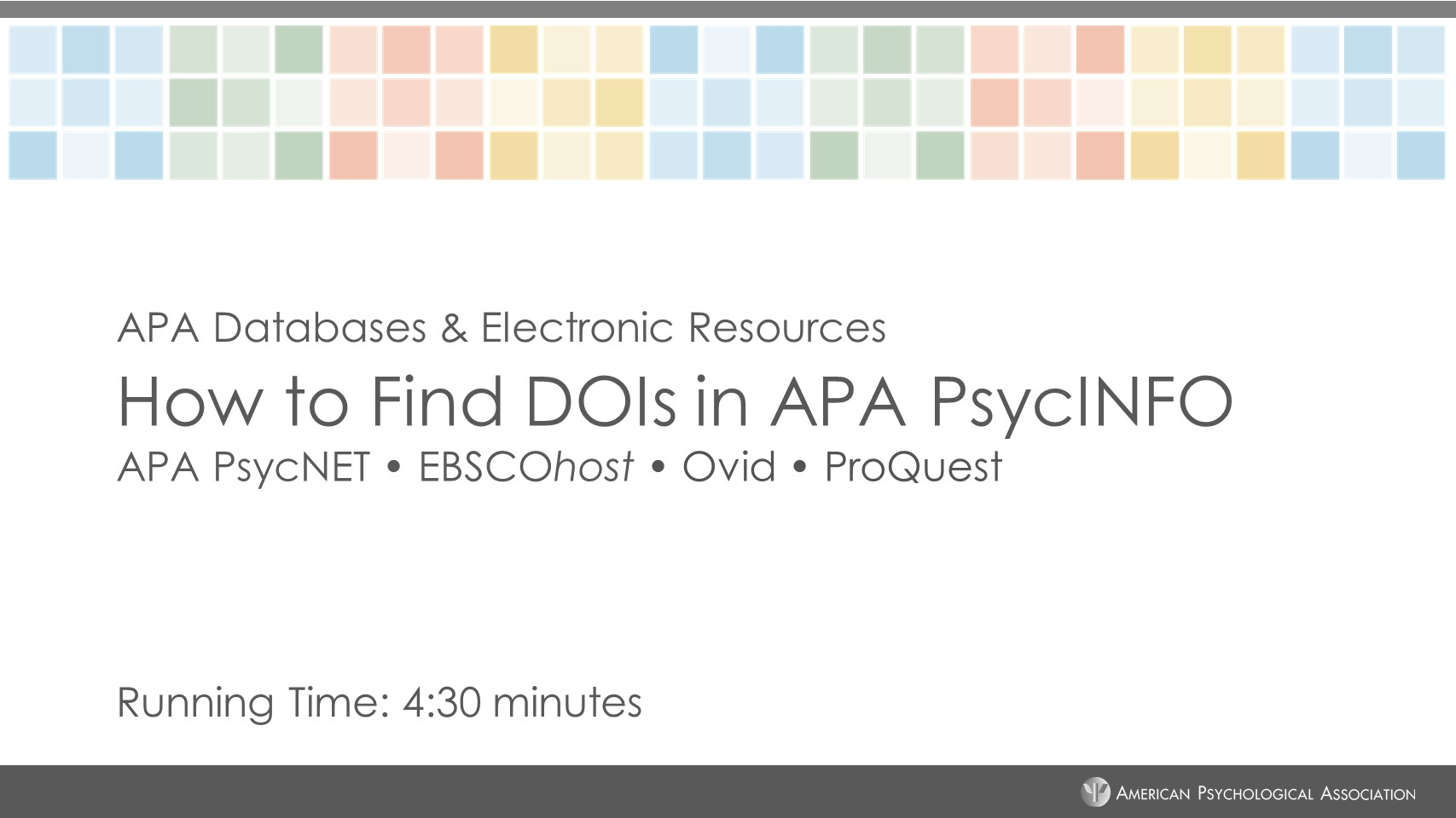Screenshot of How to Find DOIs in APA PsycINFO tutorial.