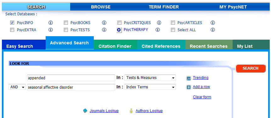 Searching PsycINFO for papers about seasonal affective disorder that have a test appended.