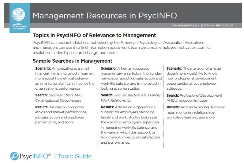 Sample searches from the Management Topic Guide.