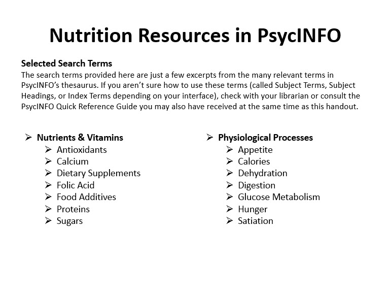 Selected search terms from the PowerPoint version of the Nutrition Topic Guide.