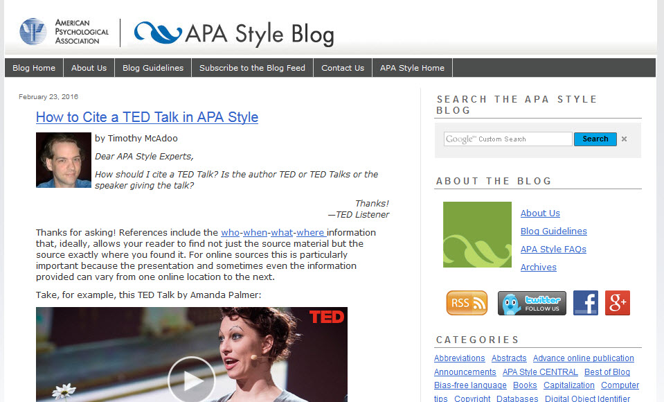 Screenshot of the APA Style Blog