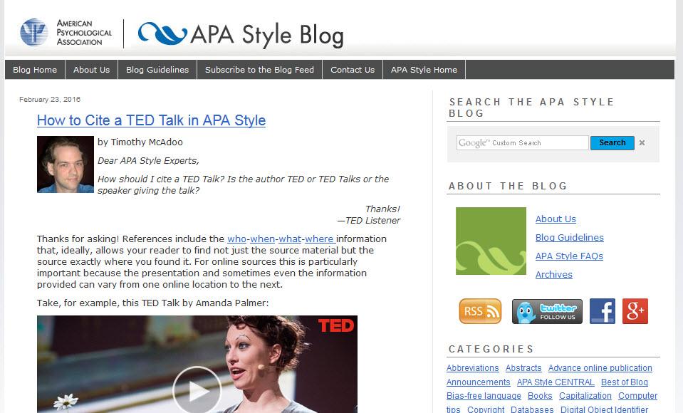 Screenshot of the APA Style Blog