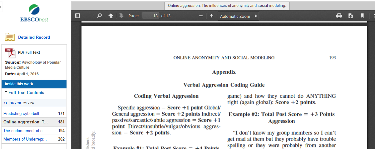 Screenshot of the Verbal Aggression Coding Guide as an appendix to an article.