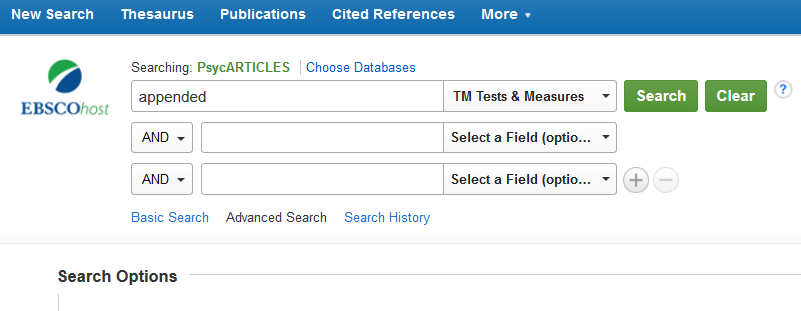 "Screenshot of searching the Tests and Measures field of PsycARTICLES, via EBSCOhost, for the word ""appended."""