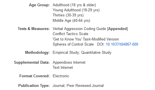 Screenshot of the Tests & Measures field from one of our search results.