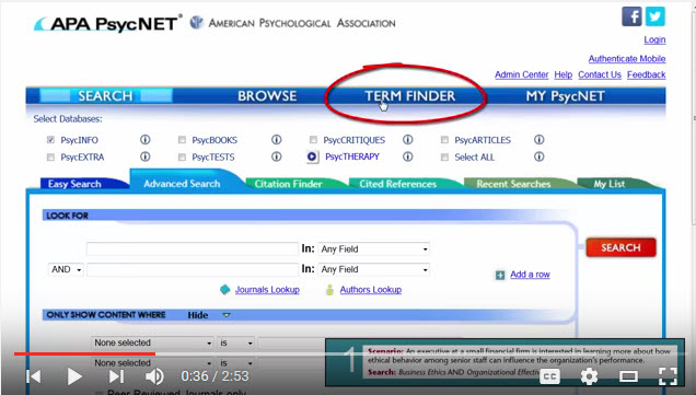 A screenshot from the APA PsycNET version of the video tutorial for the Management Topic Guide.