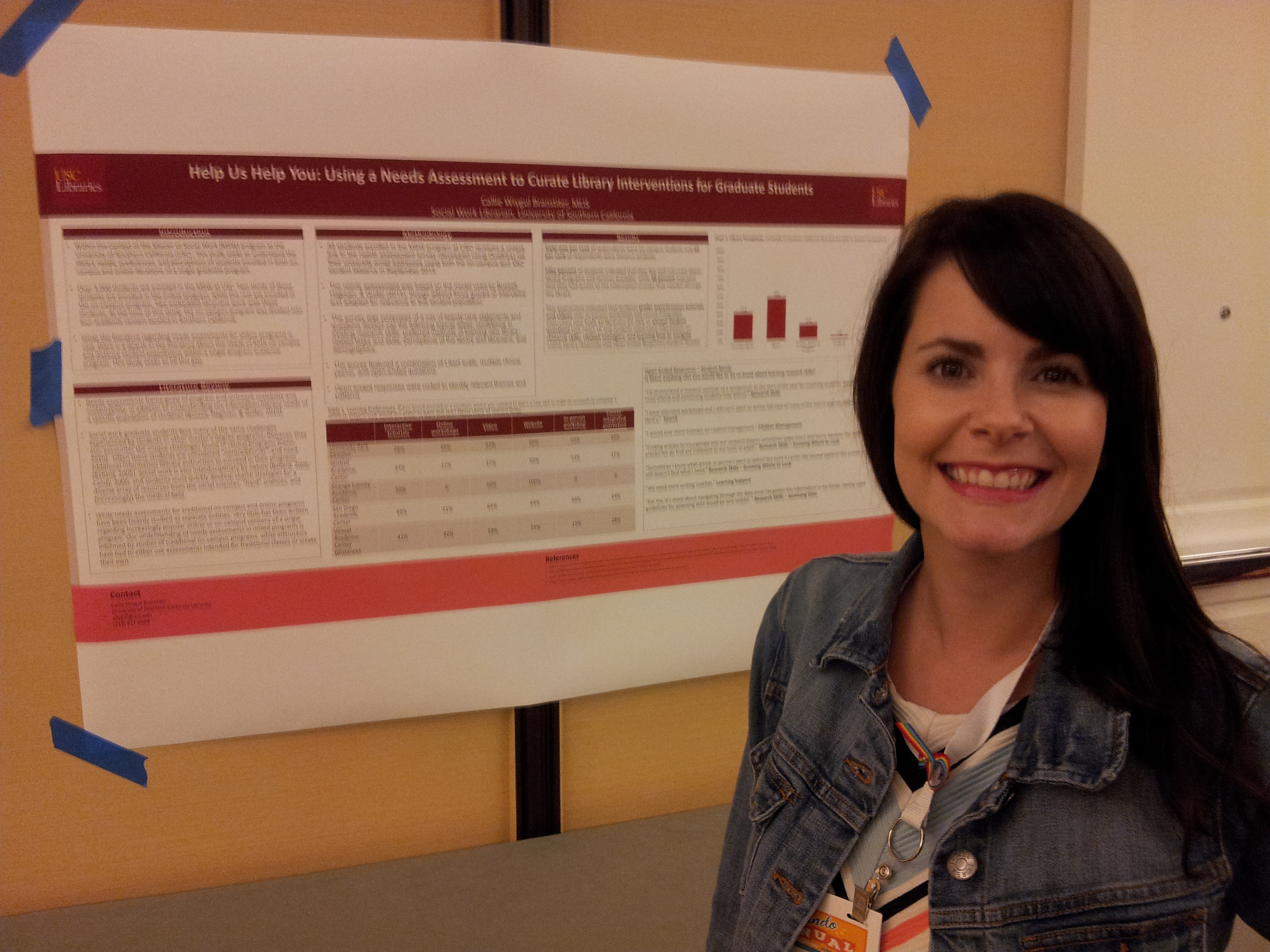 Photo of Callie Wiygul Branstiter with her poster at the EBSS Research Committee Poster Forum.