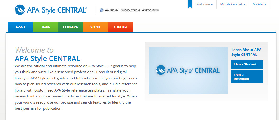 A screenshot of the APA Style CENTRAL homepage