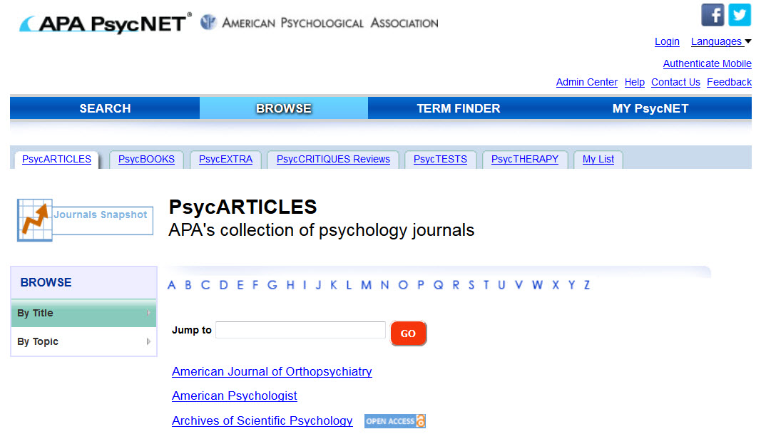 Screenshot showing the Browse page for PsycARTICLES on APA PsycNET