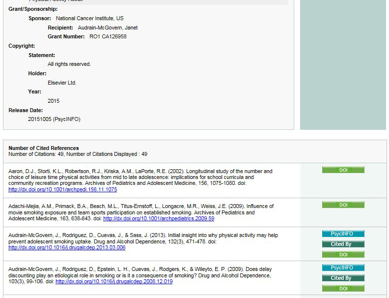 Screenshot of cited references on a PsycINFO record on APA PsycNET.