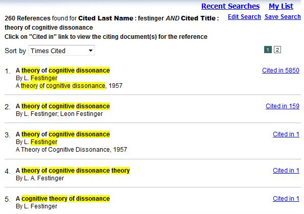 Screenshot of search results for a cited references search on APA PsycNET.