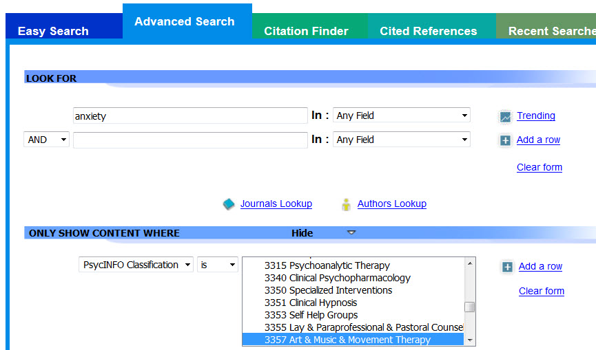 Screenshot of the advanced search screen on APA PsycNET, searching PsycINFO using anxiety in Any Field, and selecting the Art, Music & Movement Therapy Classification Code.