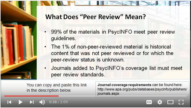 A screenshot from our tutorial on finding peer-reviewed articles.