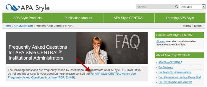 Screenshot of APA Style CENTRAL webpage with FAQs.