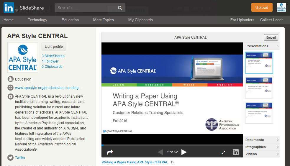 Screenshot of APA Style CENTRAL SlideShare homepage