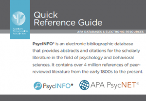 Screenshot of PsycINFO Quick Reference Guide for APA PsycNET showing description of PsycINFO
