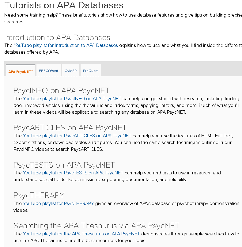 Tutorials on APA Databases Now Grouped in Playlists – APA Databases