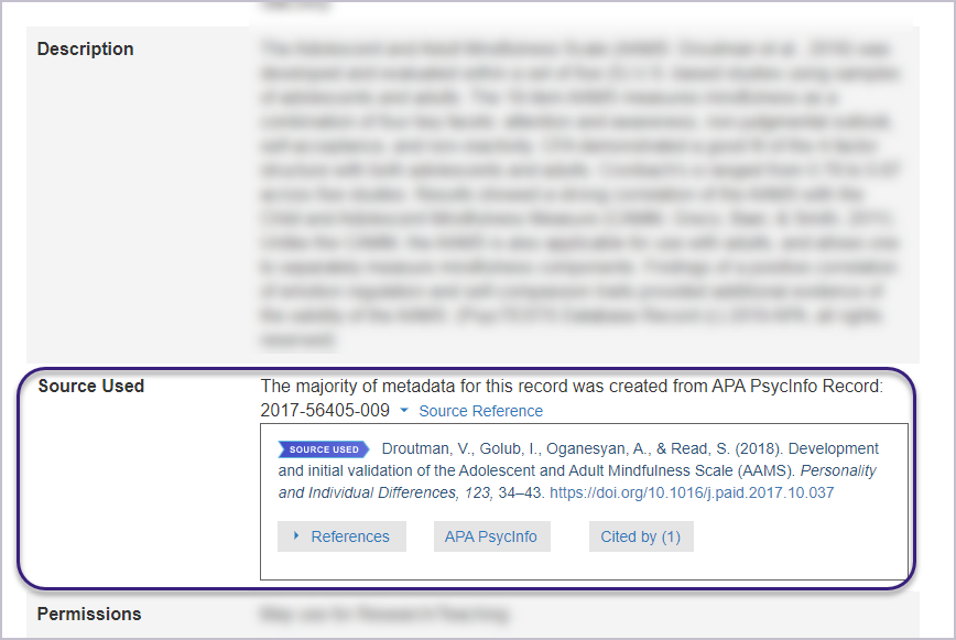 The Source Used field for a non-commercial test contains the reference citation. The Source Reference for this example has a DOI link to the research article on the publisher's web site.