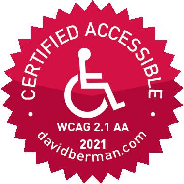 Certified Accessbile WCAG 2.1 AA 2021 davidberman.com